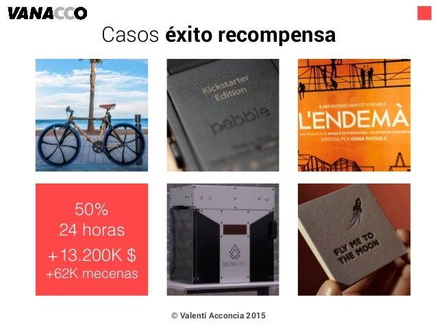 © Valentí Acconcia 2015 50% 24 horas +13.200K $ +62K mecenas Casos éxito recompensa
