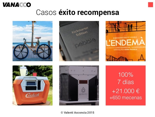 © Valentí Acconcia 2015 100% 7 días +21.000 € +650 mecenas Casos éxito recompensa