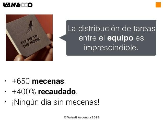 • +650 mecenas. • +400% recaudado. • ¡Ningún día sin mecenas! La distribución de tareas entre el equipo es imprescindible....