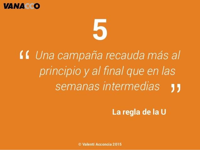 """Una campaña recauda más al principio y al final que en las semanas intermedias """" """"La regla de la U 5 © Valentí Acconcia 2015"""