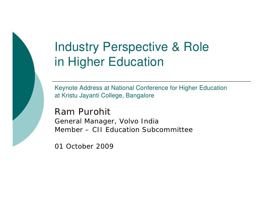 Industry Perspective & Role in Higher Education Keynote Address at National Conference for Higher Education at Kristu Jaya...