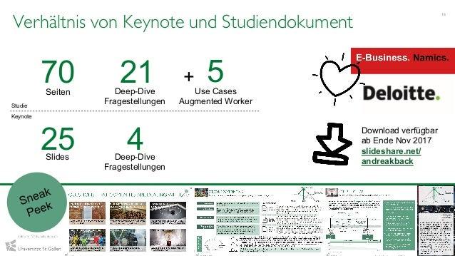 Verhältnis von Keynote und Studiendokument 18 Prof. Dr. Andrea Back & Vanessa Guggisberg, IWI-HSG, 2017 Deep-Dive Frageste...