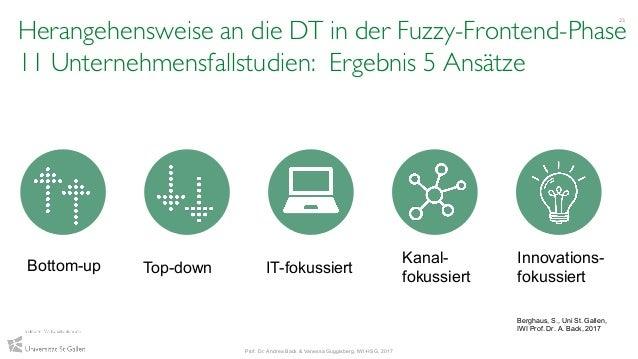 Herangehensweise an die DT in der Fuzzy-Frontend-Phase 11 Unternehmensfallstudien: Ergebnis 5 Ansätze 23 Prof. Dr. Andrea ...