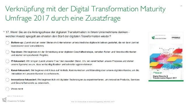 Verknüpfung mit der Digital Transformation Maturity Umfrage 2017 durch eine Zusatzfrage 24 Prof. Dr. Andrea Back & Vanessa...