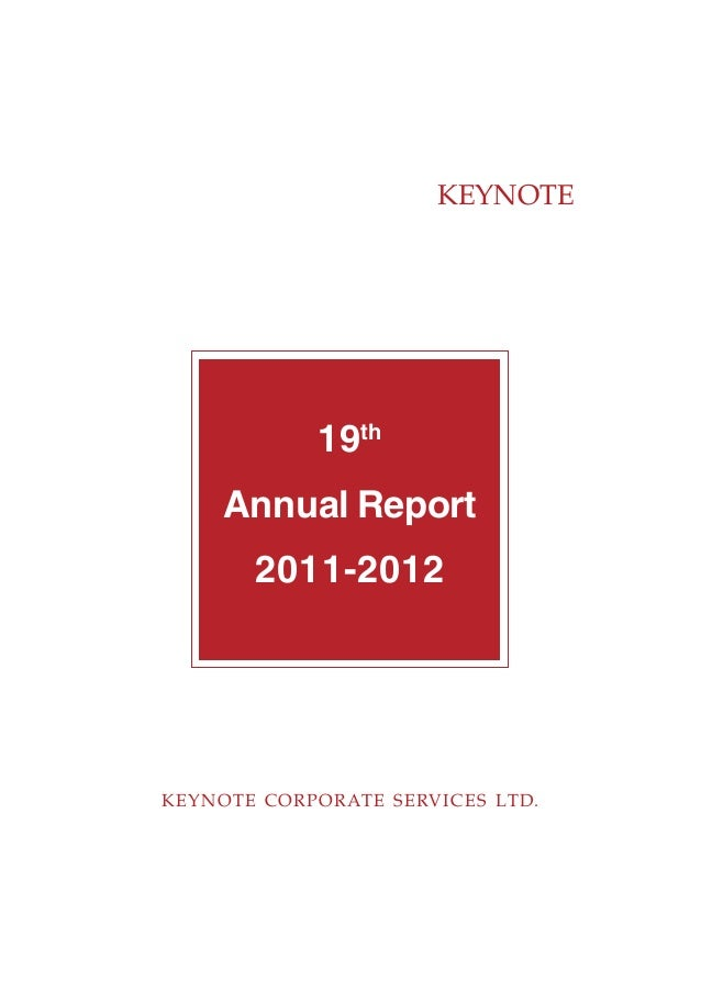 KEYNOTE KEYNOTE CORPORATE SERVICES LTD. 19th Annual Report 2011-2012