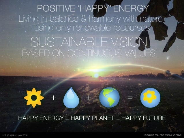 POSITIVE ERIKSCHOPPEN.COM HAPPY ENERGY = HAPPY PLANET = HAPPY FUTURE + =+ SUSTAINABLE VISION BASED ON CONTINUOUS VALUES Li...