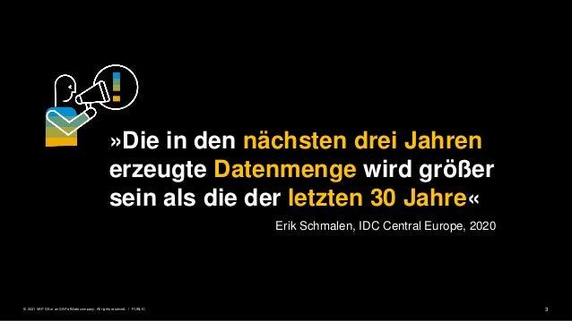 3 PUBLIC © 2021 SAP SE or an SAP affiliate company. All rights reserved. ǀ »Die in den nächsten drei Jahren erzeugte Daten...