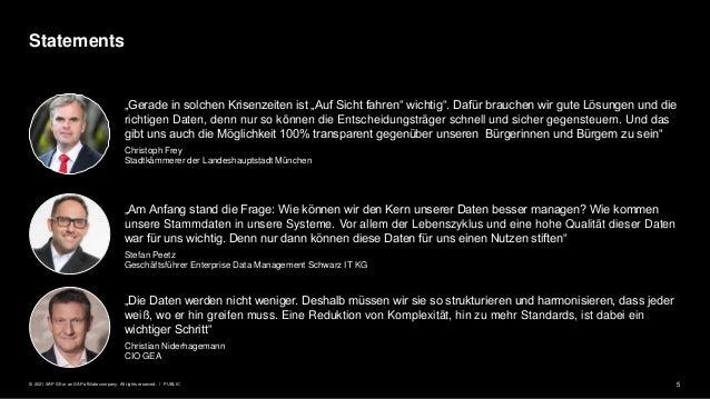 """5 PUBLIC © 2021 SAP SE or an SAP affiliate company. All rights reserved. ǀ """"Die Daten werden nicht weniger. Deshalb müssen..."""