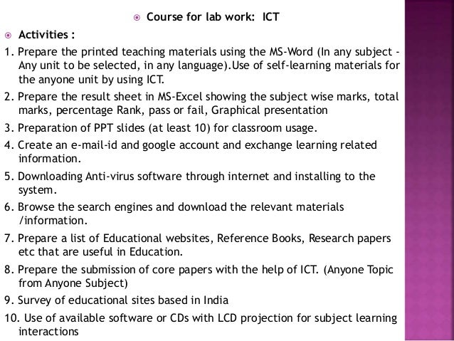 Help with a research papers use of ict in education