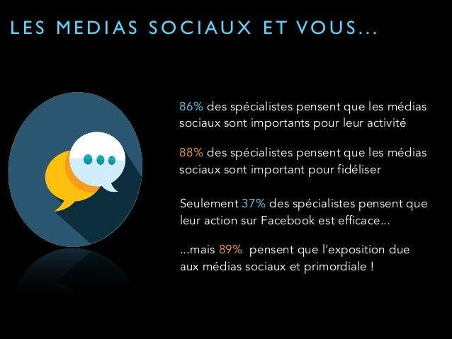 LES MEDIAS SOCIAUX ET VO U S . . .  86% des spécialistes pensent que les médias  sociaux sont importants pour leur activit...
