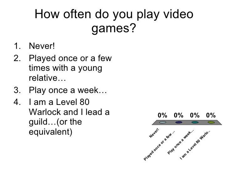 How often do you play video games? <ul><li>Never! </li></ul><ul><li>Played once or a few times with a young relative… </li...