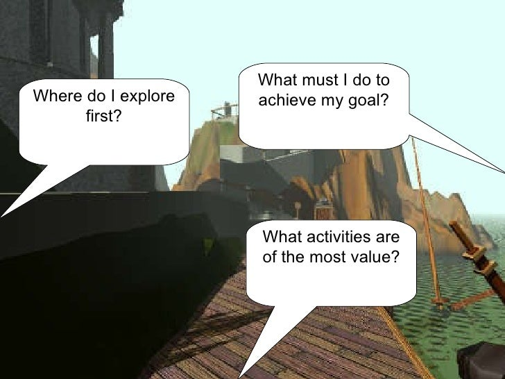 Where do I explore first? What activities are of the most value? What must I do to achieve my goal?