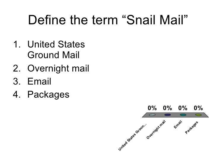 "Define the term ""Snail Mail"" <ul><li>United States Ground Mail </li></ul><ul><li>Overnight mail </li></ul><ul><li>Email </..."