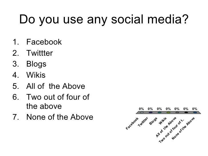 Do you use any social media? <ul><li>Facebook </li></ul><ul><li>Twittter </li></ul><ul><li>Blogs </li></ul><ul><li>Wikis <...
