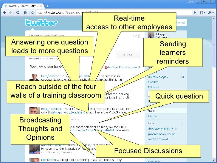 Real-time access to other employees Quick question Broadcasting Thoughts and Opinions Sending learners reminders Answering...