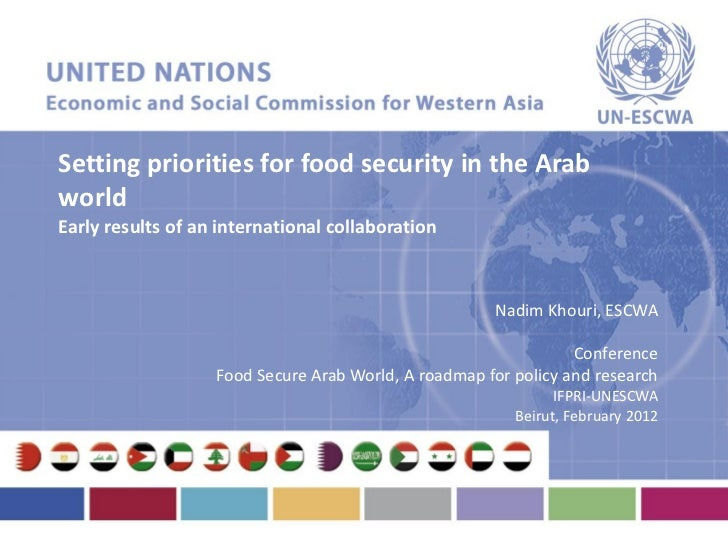 Setting priorities for food security in the Arabworld                  ESCWAEarly results of an international collaboratio...
