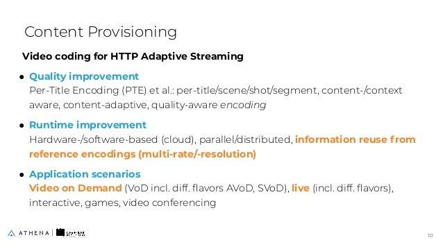 Video coding for HTTP Adaptive Streaming ● Quality improvement Per-Title Encoding (PTE) et al.: per-title/scene/shot/segme...