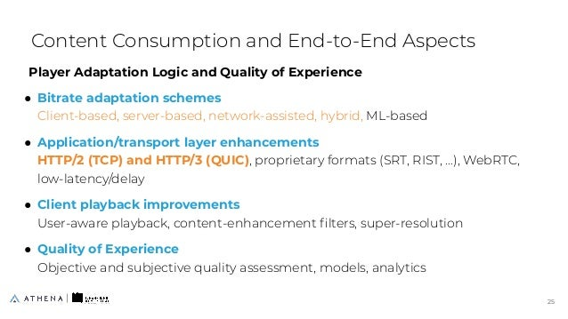 Player Adaptation Logic and Quality of Experience ● Bitrate adaptation schemes Client-based, server-based, network-assiste...