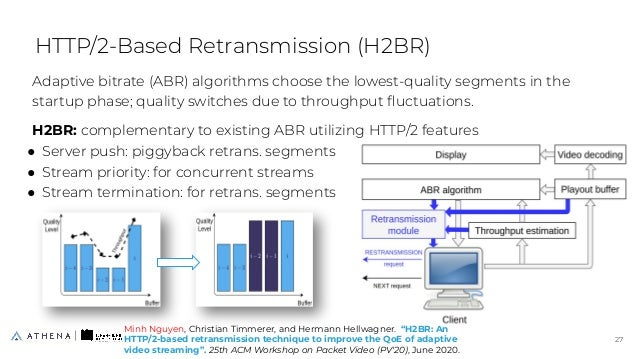 Adaptive bitrate (ABR) algorithms choose the lowest-quality segments in the startup phase; quality switches due to through...