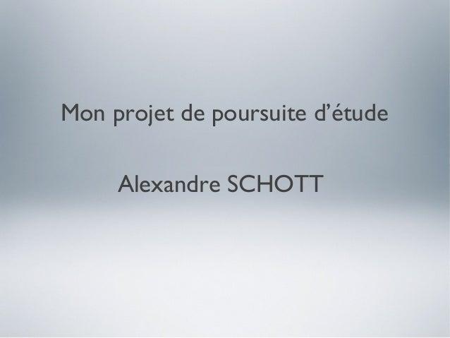 Mon projet de poursuite d'étude     Alexandre SCHOTT