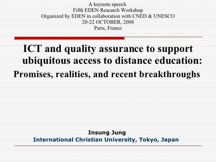 Insung Jung International Christian University,  Tokyo,  Japan   <ul><li>ICT and quality assurance to support ubiquitous a...