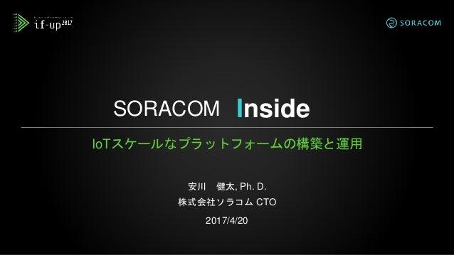 SORACOM IoTスケールなプラットフォームの構築と運用 安川 健太, Ph. D. 株式会社ソラコム CTO 2017/4/20 Inside