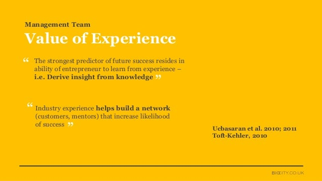 Ucbasaran et al. 2010; 2011 Toft-Kehler, 2010 The strongest predictor of future success resides in ability of entrepreneur...