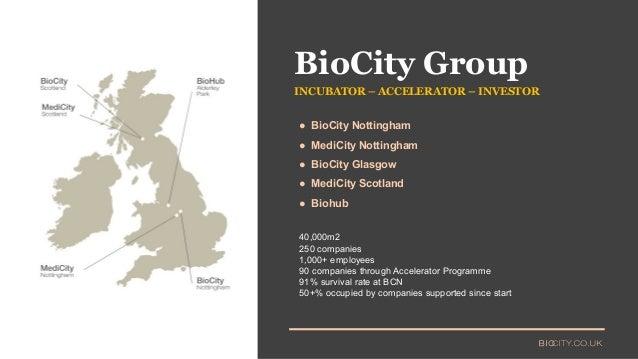 ● BioCity Nottingham ● MediCity Nottingham ● BioCity Glasgow ● MediCity Scotland ● Biohub INCUBATOR – ACCELERATOR – INVEST...