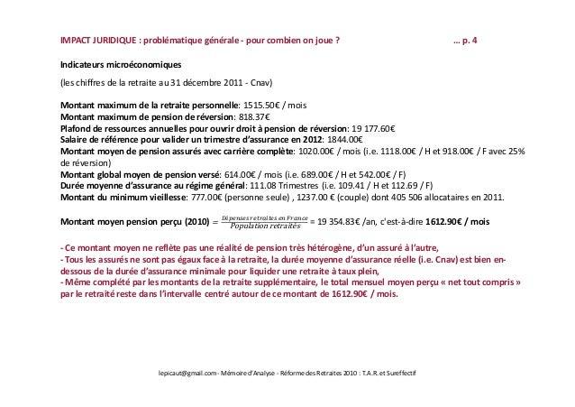 Pr sentation comp ben r forme retraite 2010 drh prix de l 39 or - Plafond de ressources pension de reversion ...