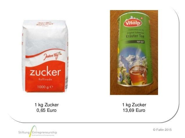 © Faltin 2015 1 kg Zucker 0,65 Euro 1 kg Zucker 13,69 Euro