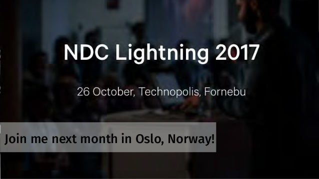 Join me next month in Oslo, Norway!