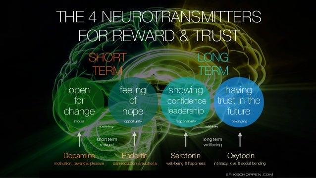 ERIKSCHOPPEN.COM Dopamine Endorfin Serotonin Oxytocin motivation, reward & pleasure pain reduction & euphoria well-being & ...