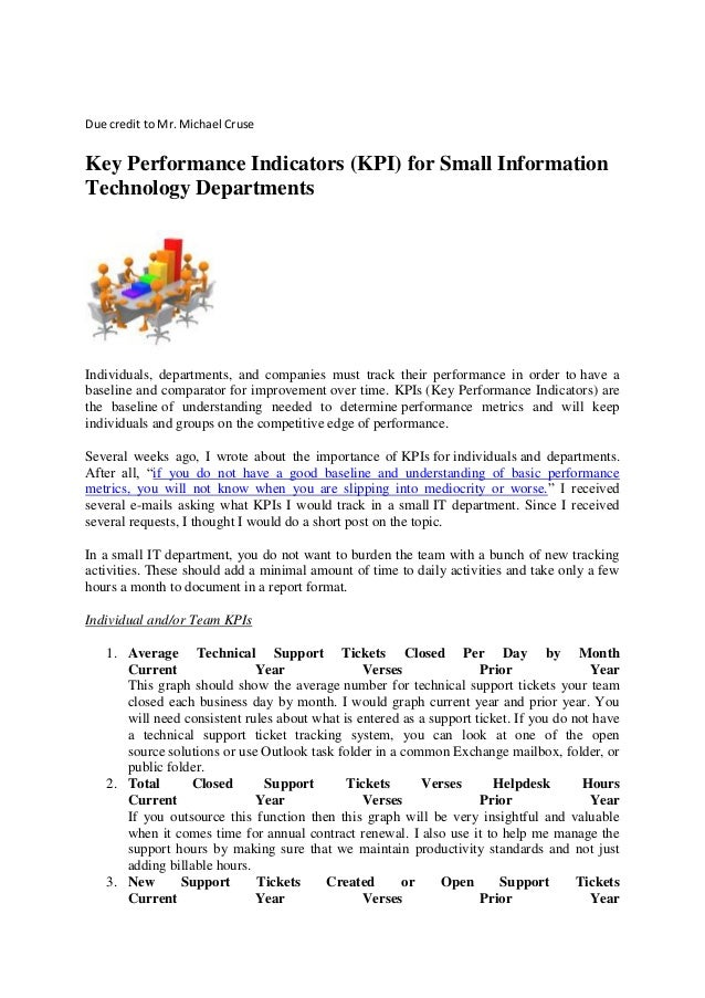 Performance Technology: Key Performance Indicators (kpi) For Small Information