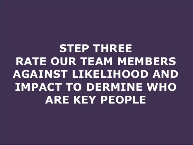 STEP THREE RATE OUR TEAM MEMBERS AGAINST LIKELIHOOD AND IMPACT TO DERMINE WHO ARE KEY PEOPLE