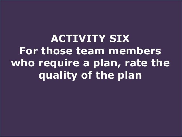 ACTIVITY SIX For those team members who require a plan, rate the quality of the plan