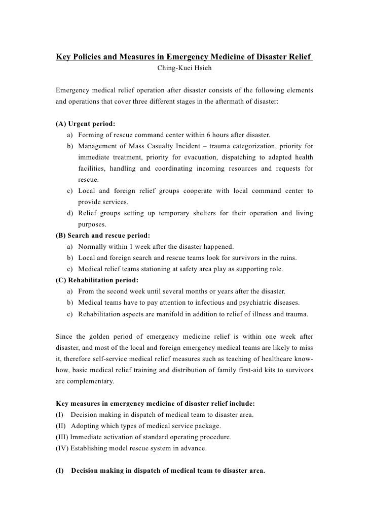 Key Policies and Measures in Emergency Medicine of Disaster Relief                                    Ching-Kuei Hsieh   E...