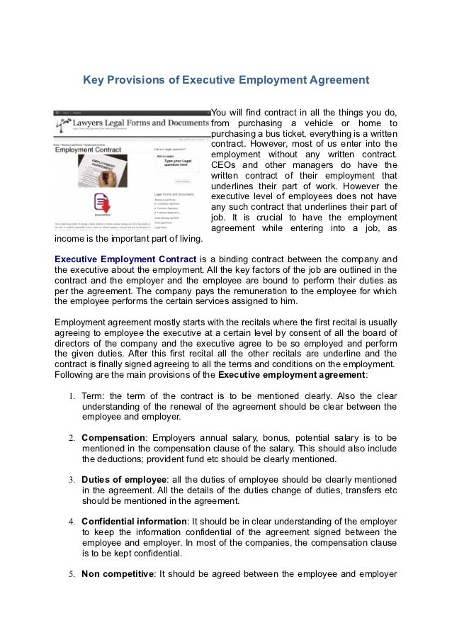 Executive Employment Contract – Executive Employment Contract