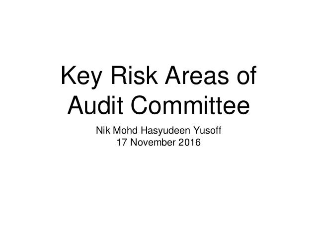 Key Risk Areas of Audit Committee Nik Mohd Hasyudeen Yusoff 17 November 2016