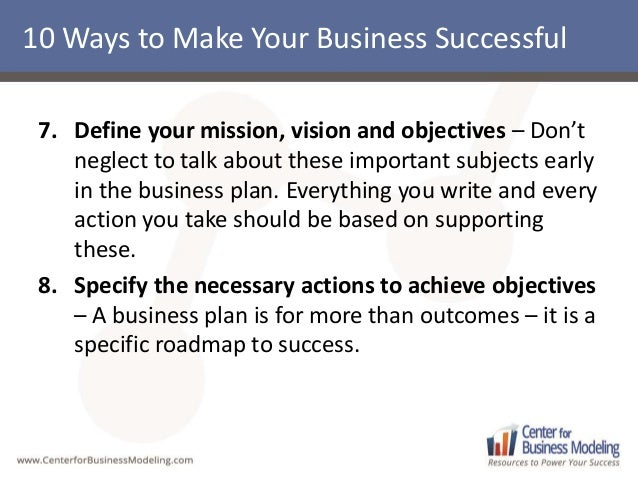 what is keys to success in business plan