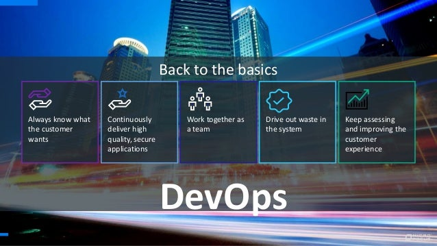 DevOps Back to the basics Always know what the customer wants Continuously deliver high quality, secure applications Work ...