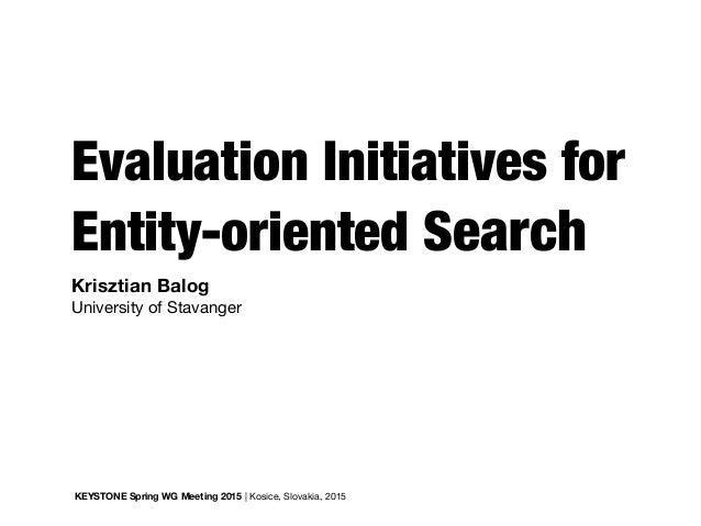 Evaluation Initiatives for Entity-oriented Search KEYSTONE Spring WG Meeting 2015 | Kosice, Slovakia, 2015 Krisztian Balog...