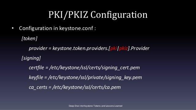 PKI/PKIZ Configuration • Configuration in keystone.conf : [token] provider = keystone.token.providers.[pki|pkiz].Provider ...
