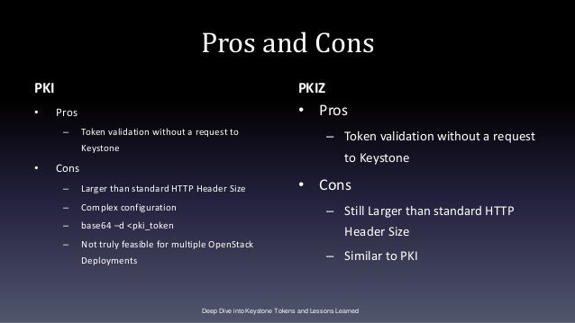 Pros and Cons PKI • Pros – Token validation without a request to Keystone • Cons – Larger than standard HTTP Header Size –...