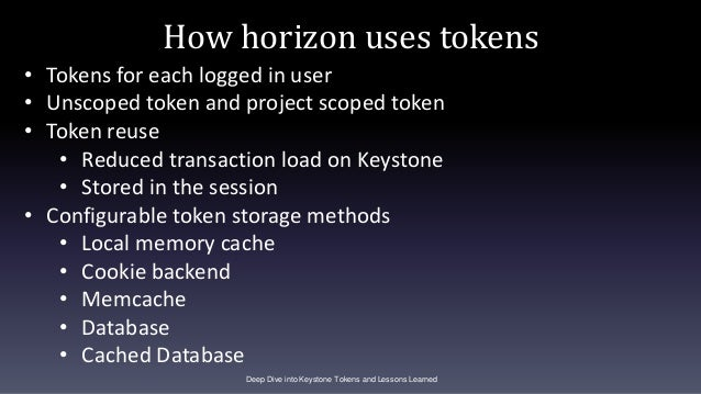 How horizon uses tokens Deep Dive into Keystone Tokens and Lessons Learned • Tokens for each logged in user • Unscoped tok...