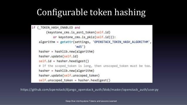 Configurable token hashing https://github.com/openstack/django_openstack_auth/blob/master/openstack_auth/user.py Deep Dive...