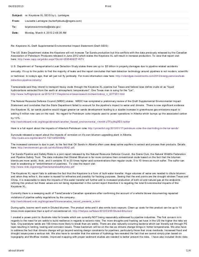 04/03/2013                                                                            Print  Subject: re:KeystoneXLSEIS...