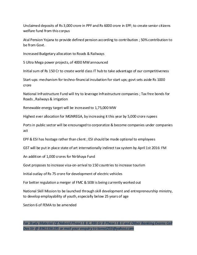 Key union budget 2015 16 points by das sir 8961556195 Slide 2