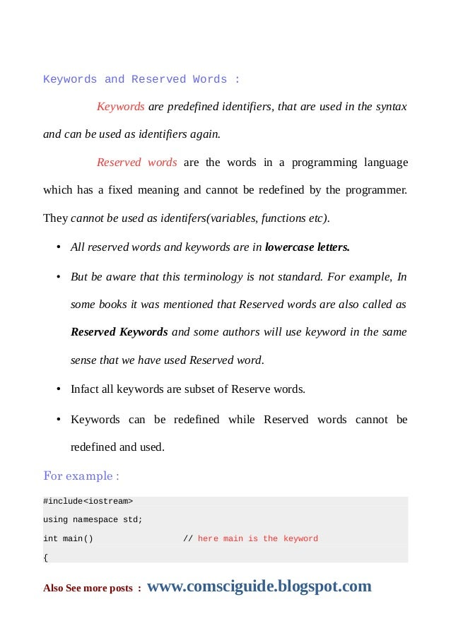 how keywords and reserved words differ
