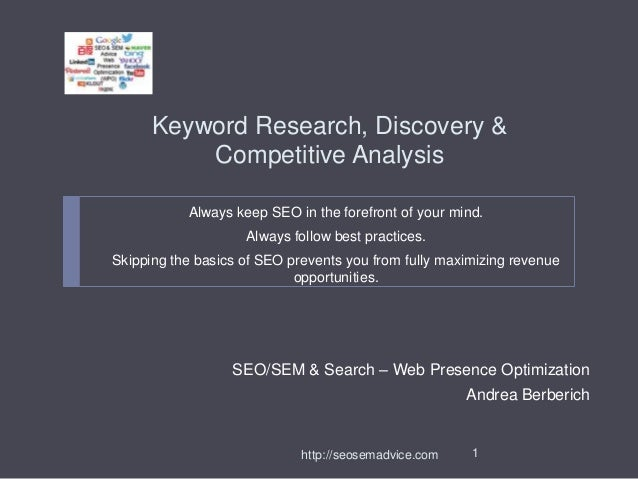 Keyword Research, Discovery & Competitive Analysis Always keep SEO in the forefront of your mind. Always follow best pract...