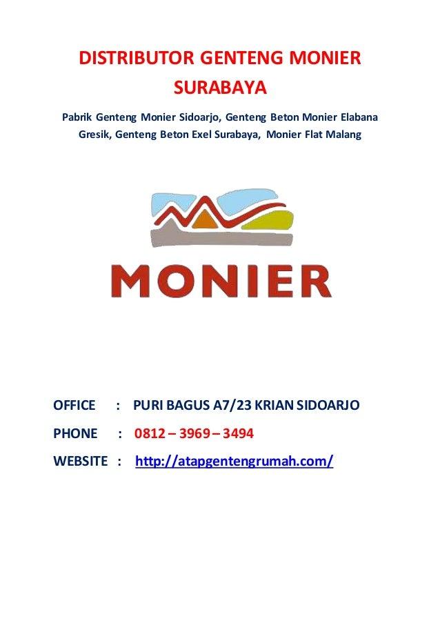 DISTRIBUTOR GENTENG MONIER SURABAYA Pabrik Genteng Monier Sidoarjo, Genteng Beton Monier Elabana Gresik, Genteng Beton Exe...